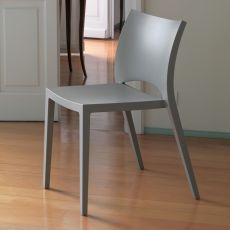 Aqua Off - Bontempi Casa stackable chair, in mud grey polypropylene, also for outdoor use