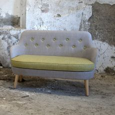 Cornell L - Modern sofa Domingo Salotti, with wooden legs, available in fabric, leather or imitation leather, different colors