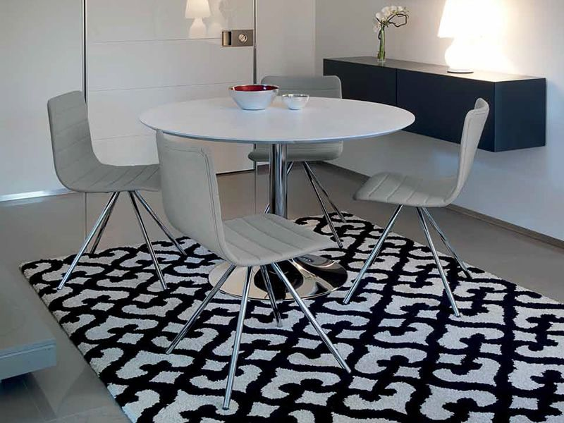 ... Corona 120   Round Table Made Of Chromed Metal With White Lacquered MDF  Top ...