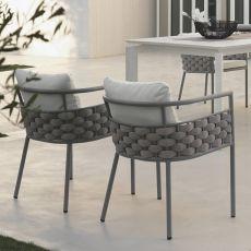 Kira P - Fauteuil de jardin en aluminium avec coussins en dry foam, idéale à une utilisation à l'extérieur