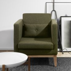 Day-P - Armchair with structure and legs in wood, padded and covered with fabric, different colours available