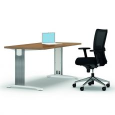 Idea System 01 - Computer holder desk with peninsula, metal frame and laminate top, available in different dimensions and colours