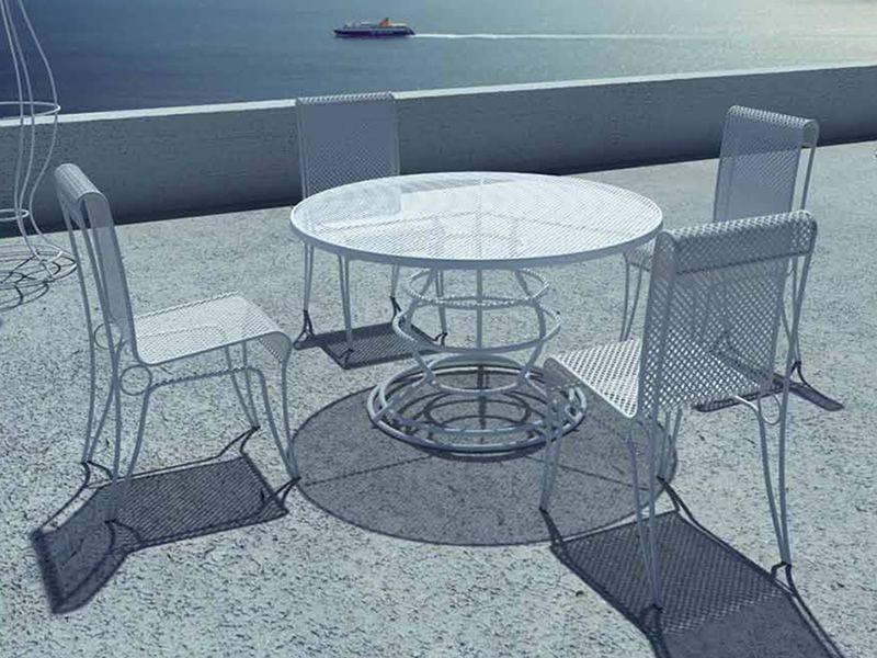 ariel metalltisch f r garten runde glasplatte mit. Black Bedroom Furniture Sets. Home Design Ideas