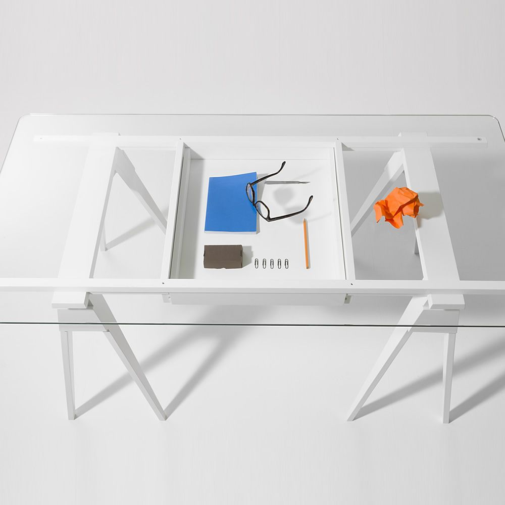 arco wooden writing desk glass top  x  cm with drawer  - arco  writing desk made of white lacquered wood glass top