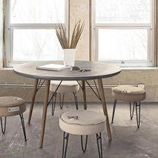 Cairo - Tavolo di design, struttura in legno e piano in MDF effetto cemento, rotondo o rettangolare