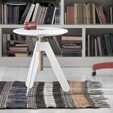 Basalto - Tavolino di design Bontempi Casa, regolabile in altezza, con struttura in acciaio laccato e piano in legno, diversi colori e finiture disponibili