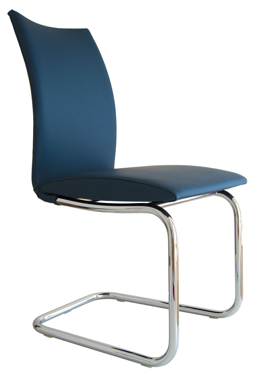 Swing Round   Stuhl Mit Poliertem Stahlgestell Un Sitz Aus Blauem Leder