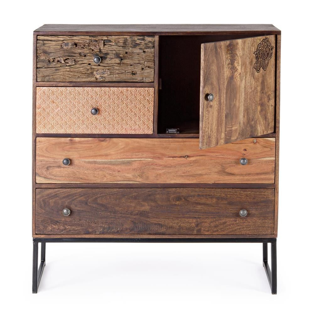 Abuja 1a 4c Vintage Cabinet For Living Room Made Of Wood With Iron Legs With Doors And