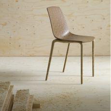 Alhambra Eco - Sedia di design impilabile, realizzata in materiale riciclato legno-plastica