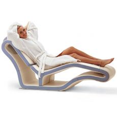 Long-Y - Global Relax modern chaise longue in two-tone artificial leather