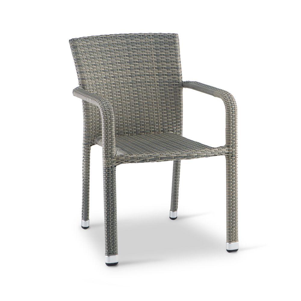 Tt19 chaise de jardin empilable avec accoudoirs en for Chaise en rotin gris