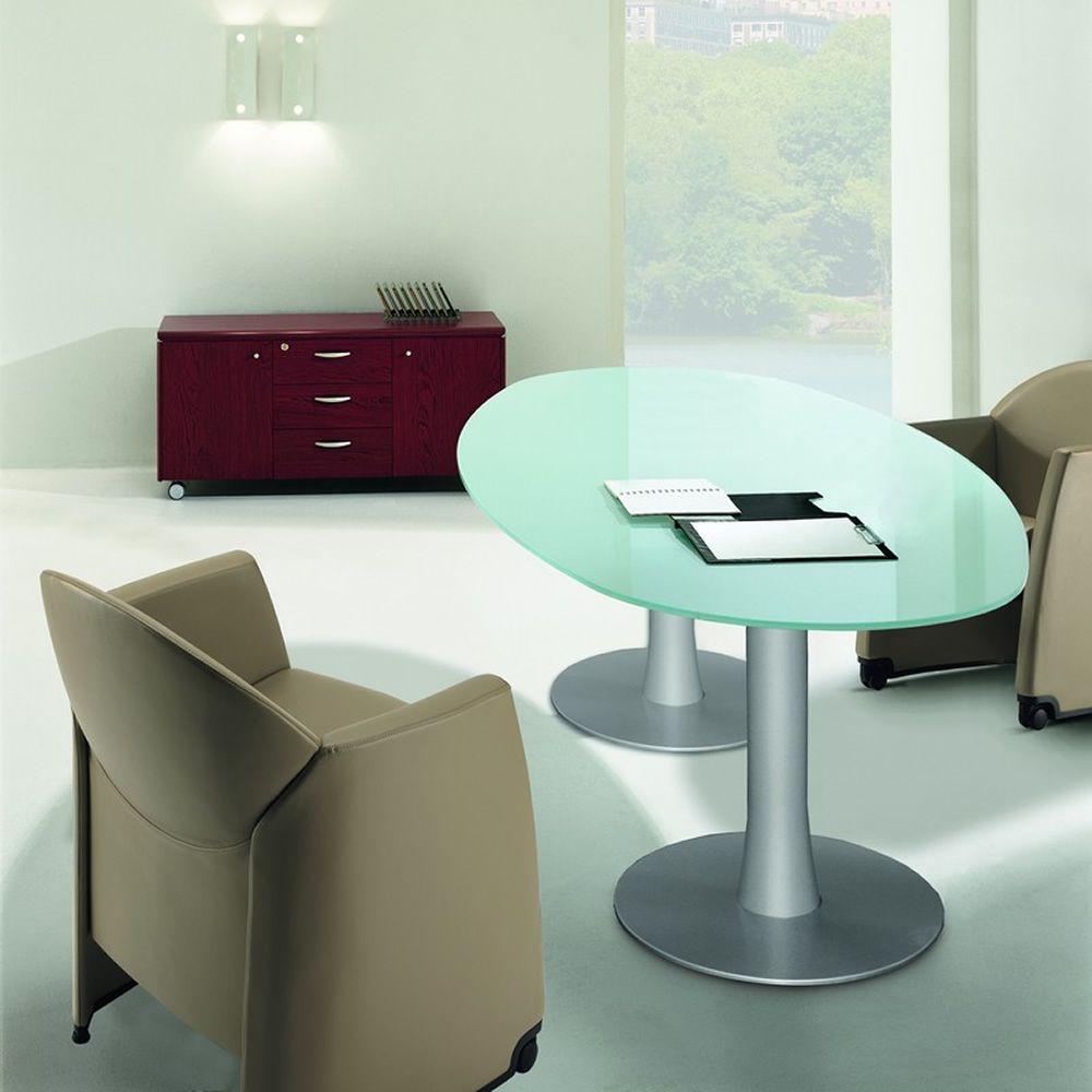 Glass meet tavolo da riunione ovale con piano in vetro struttura in metallo sediarreda - Tavolo riunioni ovale vetro ...