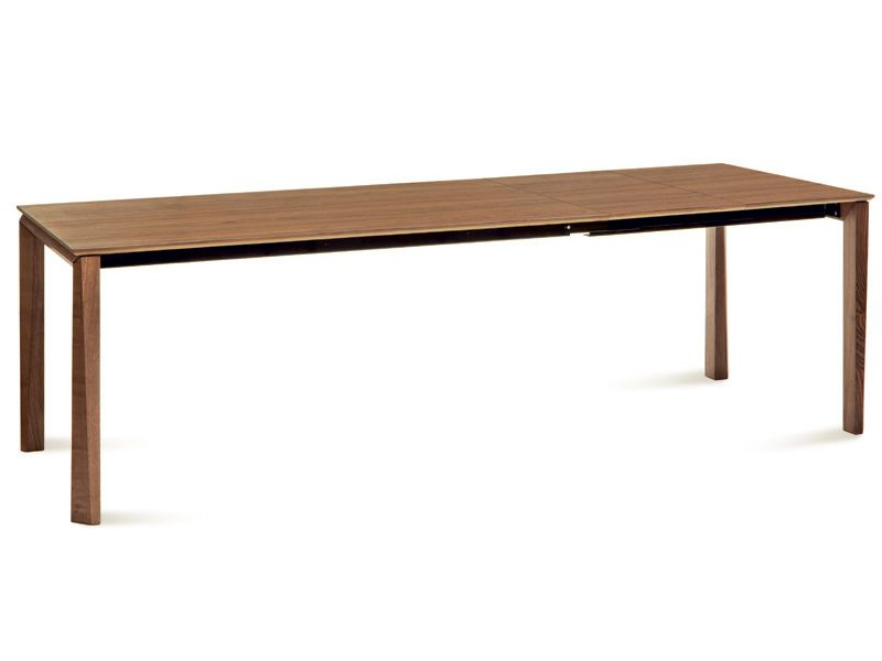 Universe 182 table domitalia en bois avec plateau en for Table hetre avec rallonge