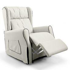 Memory - Poltrona relax elettrica, cuscino in piuma d'oca, diversi rivestimenti disponibili